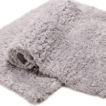 Bonzy Home Bathroom Rug Non Slip Bath Mat 32 x 20inch Water Absorbent Soft Microfiber Shaggy Bathroom Mat Machine Washable Bath Rug Thick Plush Rugs for Shower 1pc (Gray)