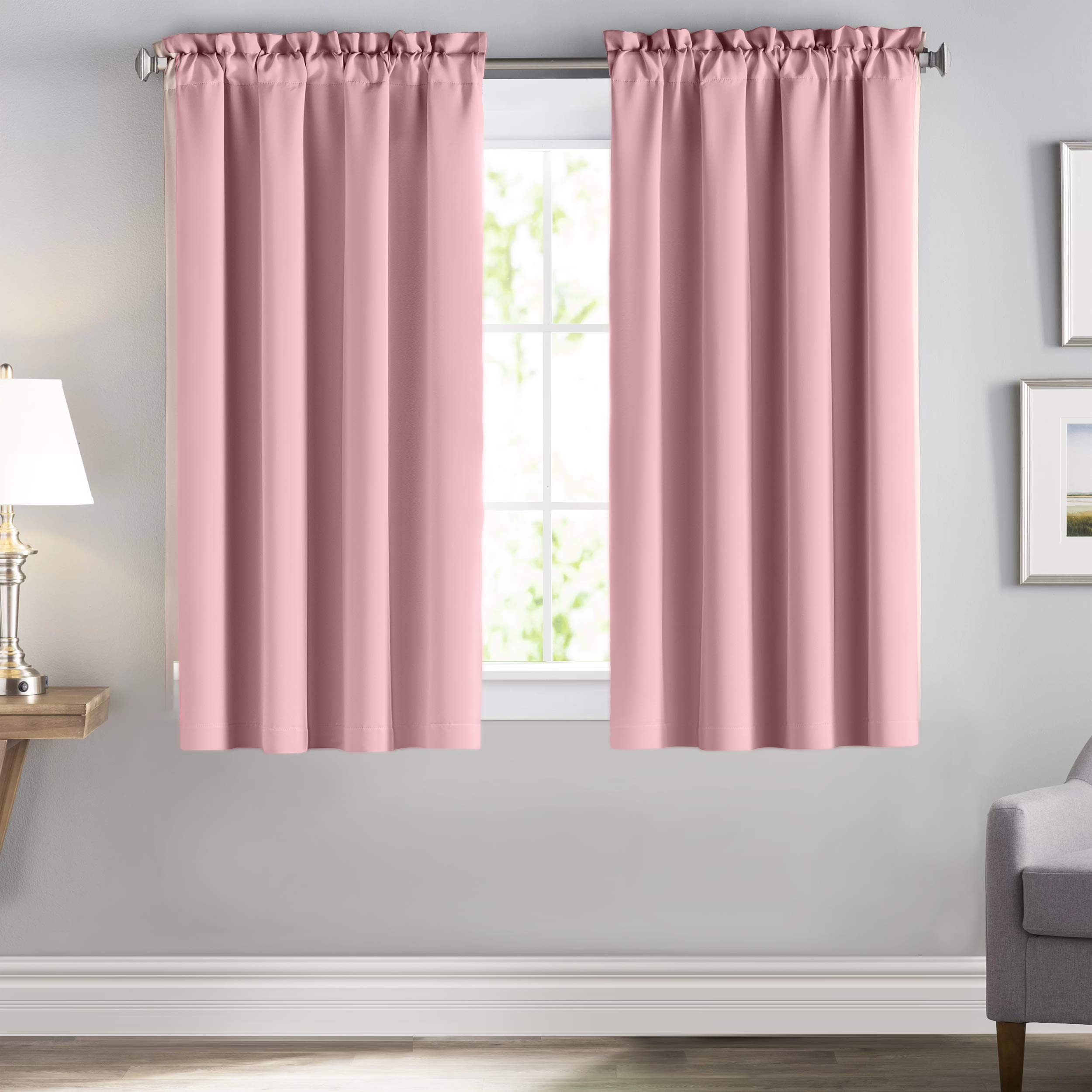 downluxe Room Darking Rod Pocket Curtains for Kid's Room - Nursery Essential Thermal Insulated Solid Rod Pocket Drapes(2 Panels, W42 x L63 Inches, Baby Pink)