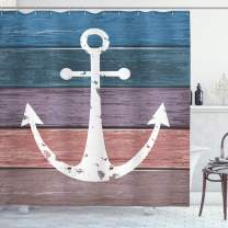 """Ambesonne Anchor Shower Curtain, Nautical Pattern of Rustic Marine Symbol on Weathered Grungy Wooden Planks Print, Cloth Fabric Bathroom Decor Set with Hooks, 75"""" Long, Pink Blue"""