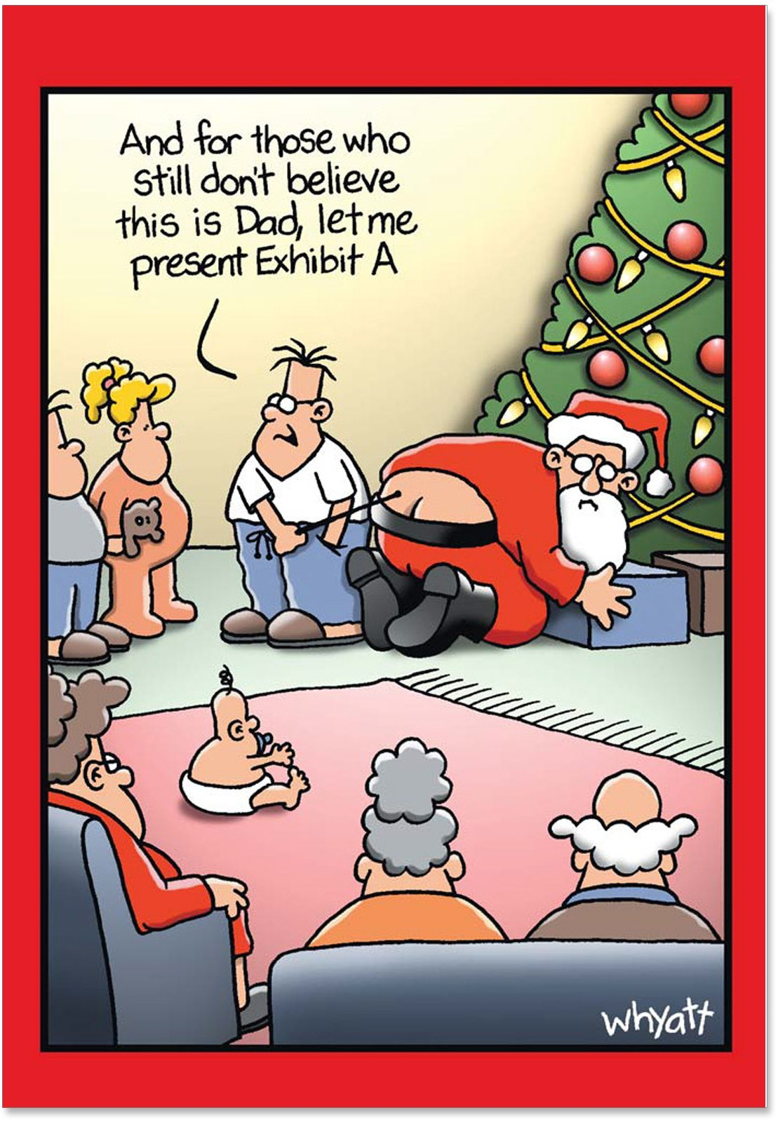 12 'Exhibit A' Hilarious Boxed Christmas Greeting Cards 4.63 x 6.75 inch, Merry Xmas Note Cards for Holidays, Gifts, Funny Dad and Santa Humor, Notecard Stationery w/Envelopes B1191