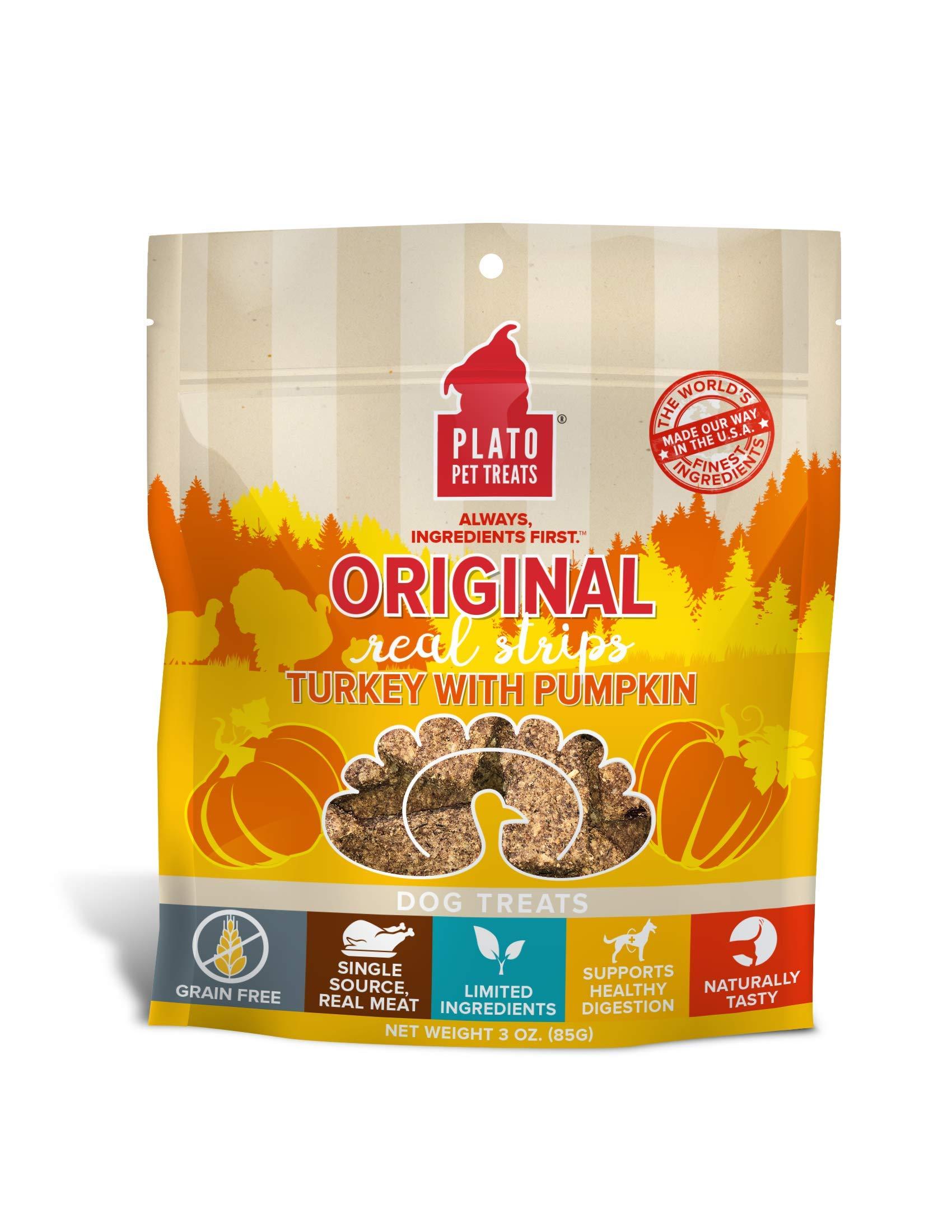 Plato Original Turkey Real Strips Dog Treats, Grain Free Meat Bars Made for Chomping