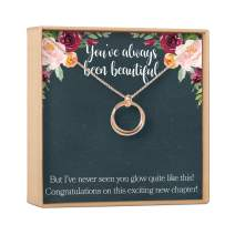 Pregnancy Necklace - Heartfelt Card & Jewelry Gift for Baby Showers, New Mom, 2 Linked Circles (rose-gold-plated-brass, NA)