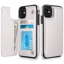 HianDier Wallet Case for iPhone 11 6.1-inch Slim Protective Case with Credit Card Slot Holder Flip Folio Soft PU Leather Magnetic Closure Cover for 2019 iPhone 11 iPhone XI, White