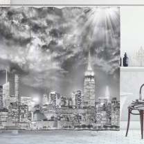 "Ambesonne Urban Shower Curtain, Dramatic New York City Skyline Sun Beams Clouds Skyscrapers Monochrome Landscape, Cloth Fabric Bathroom Decor Set with Hooks, 70"" Long, White Grey"