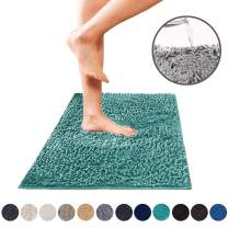DEARTOWN Non-Slip Shaggy Bathroom Rug (27.5x47 Inches, Turquoise),Soft Microfibers Chenille Bath Mat with Water Absorbent, Machine Washable