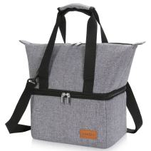 Lifewit Insulated Thermal Lunch Bag Box Tote Coolers Soft Side Cooler Bag For Travel For Men 12L,Grey