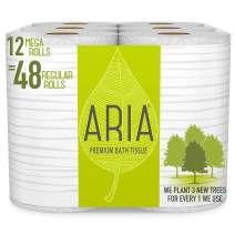 Aria Premium, Earth Friendly Toilet Paper, Eco Friendly Bath Tissue, Mega Rolls, 12 Count of 308 Sheets Per Roll