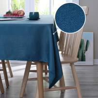 Deconovo Washable Fabric Table Cover Waterproof Tablecloths for Kitchen Dining Tabletop 54x54 Inches Navy Blue