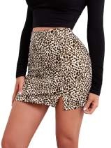 SheIn Women's Leopard Print Stretch Above Knee Bodycon Short Pencil Mini Skirt