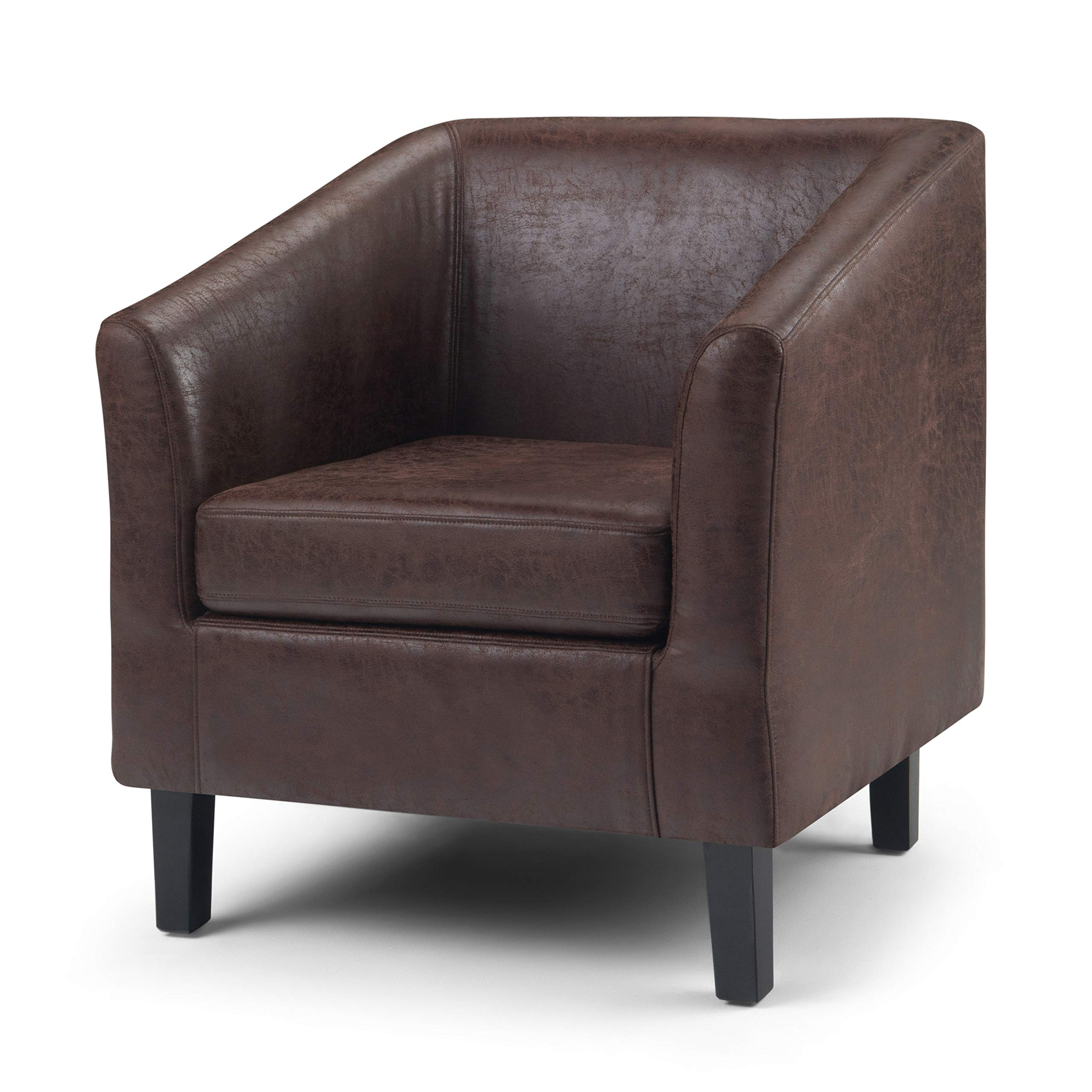 Simpli Home Merlow 30 inch Wide Mid Century Modern Tub Chair in Distressed Brown Faux Air Leather