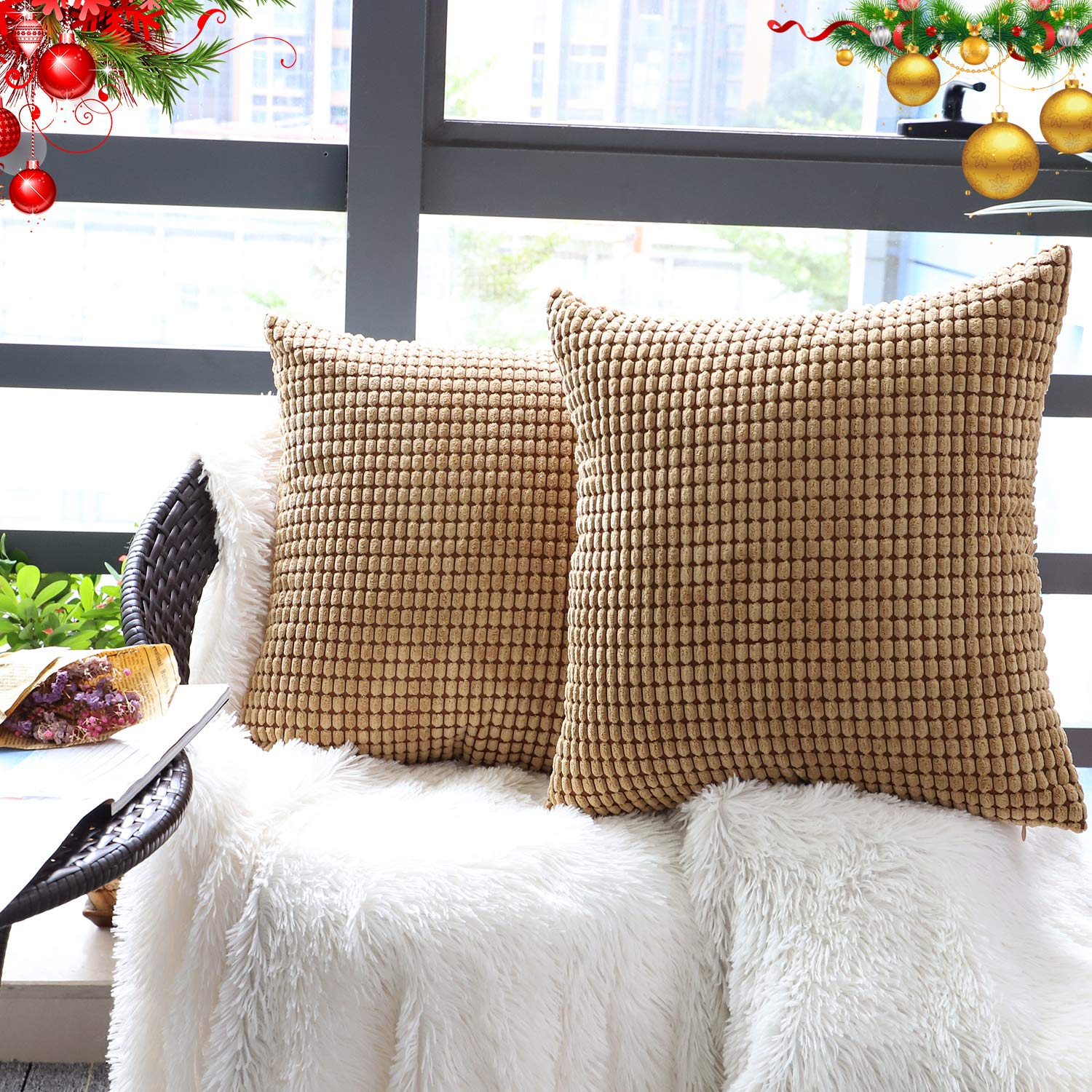"""Set of 2,Decorative Throw Pillow Covers 20"""" x 20"""" (No Insert),Solid Cozy Corduroy Corn Square Pillow Case Cover,Soft Velvet Large Cushion Covers with Hidden Zipper for Couch/Sofa/Bed,Light Brown"""