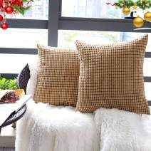 """Set of 2,Decorative Throw Pillow Covers 18"""" x 18"""" (No Insert),Solid Cozy Corduroy Corn Square Pillow Case Cover Shams,Soft Velvet Cushion Cover with Hidden Zipper for Couch/Sofa/Bedroom,Light Brown"""