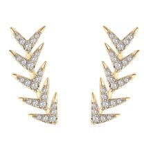 PAVOI 14K Gold Plated Sterling Silver Post Ear Crawler - Arrow Cuff Earrings Hypoallergenic Stud Ear Climber Jackets