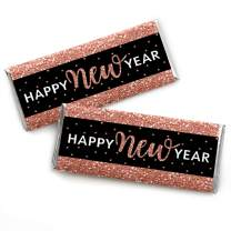 Big Dot of Happiness Rose Gold Happy New Year - Candy Bar Wrapper New Year's Eve Party Favors - Set of 24