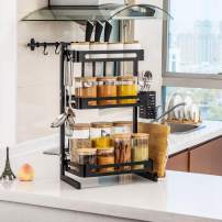 TOLEAD 3 Tier Spice Rack Kitchen Counter Organizer Heavy Duty Multifunctional Seasoning Storage Shelf with 3 Extra Side Hooks for Knife Block, Cutlery, Utensil and Board Holder, Black