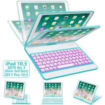 iPad Pro 10.5 Keyboard Case 2017/ iPad Air 3 Case with Keyboard 10.5 2019-360 Rotate 7 Color Backlit Wireless Keyboard with Smart Folio Hard Back Cover, Ultra Slim, Auto Sleep/Wake, Tiffany Blue