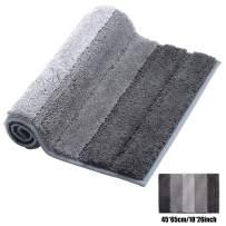 XIYUNTE Grey Bath Mat Non Slip, 45 x 65cm Luxury Striped Bath Rugs Microfiber Absorbent Bathroom Rugs, Carpet Rugs for Bathroom,Living Room,Kitchen, Machine-Washable Door Mats,Floor Mat,Pet Mats