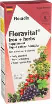Floravital Liquid Iron Supplement + Herbs 17 Ounce LARGE - Vegan, Non GMO & Gluten Free - Non Constipating, Yeast Free for Men & Women