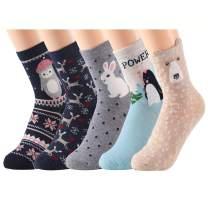 Womens Cute Animal Socks 5 Pairs Cotton Crew Socks Funny High Ankle Girls Socks for Women Shoe Size US 5-8.5