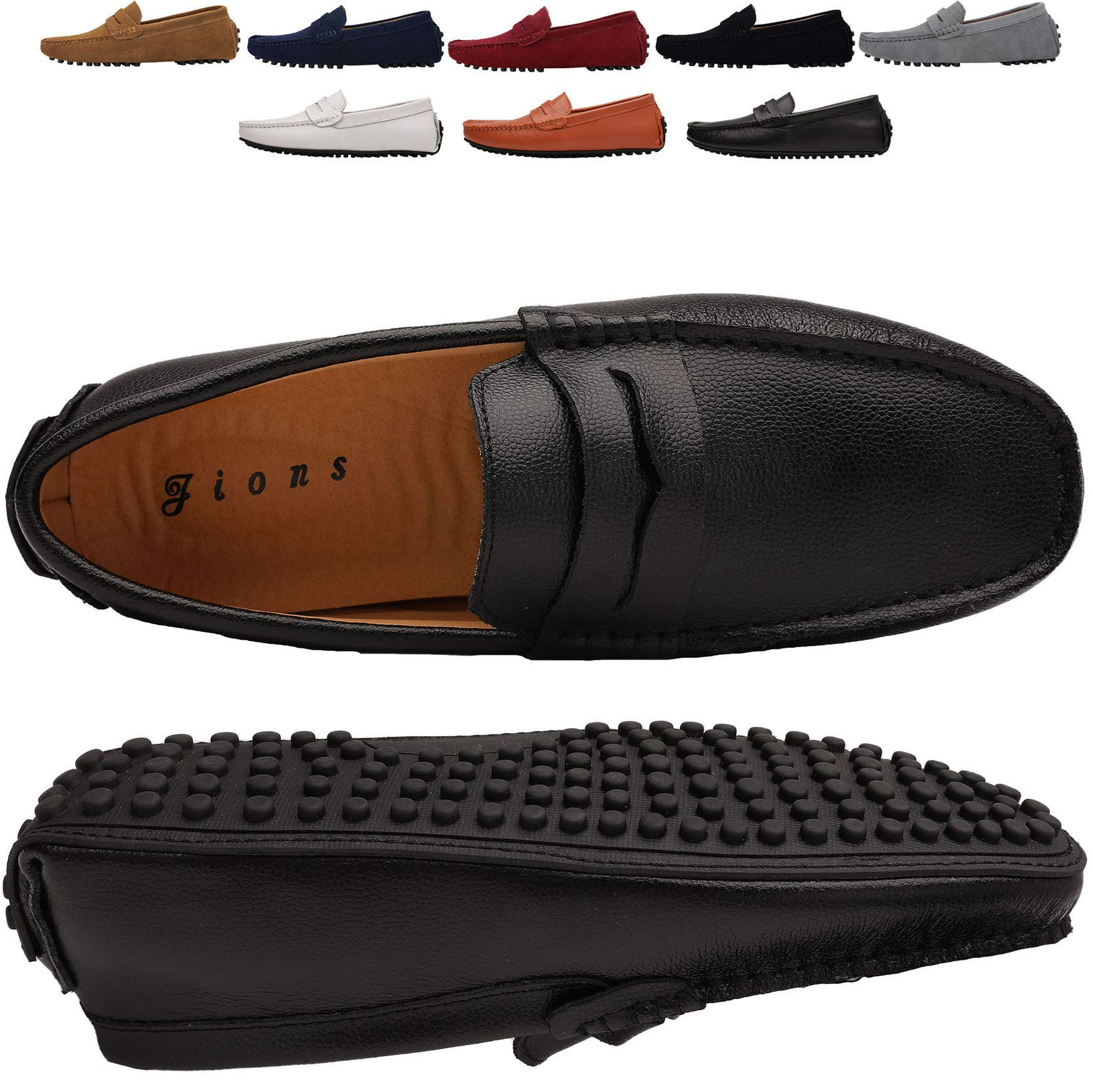 JIONS Mens Driving Penny Loafers Leather Driver Moccasins Slip On Flats Casual Dress Shoes E- Black 40/7.5 M US