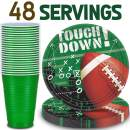 Football Party Supplies - 48 Servings - Dinner plates, Party cups. Perfect for Super bowl, Tailgating, and sports theme birthday parties