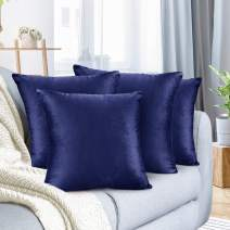 "Nestl Bedding Throw Pillow Cover 18"" x 18"" Soft Square Decorative Throw Pillow Covers Cozy Velvet Cushion Case for Sofa Couch Bedroom, Set of 4, Royal Blue"