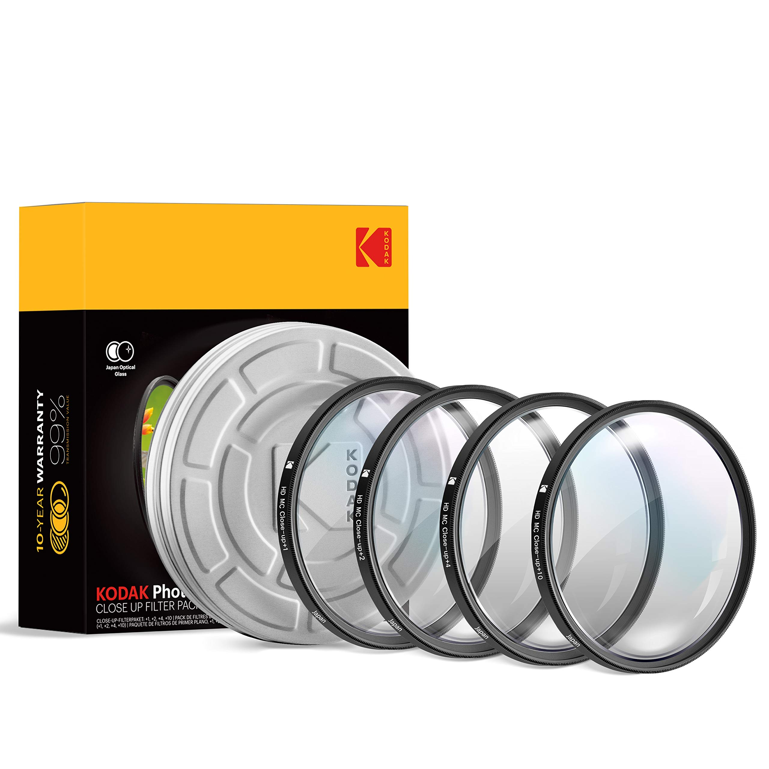 KODAK 37mm Close-Up Filter Set w/Mini Guide | Pack of [4] +1, 2, 4, 10 Macro Lens Filters | Achieve Greater Magnification, Clarity & Focus for Close Up Photography| MultiCoated 16-Layer Nano Glass