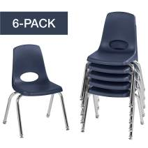 """FDP 14"""" School Stack Chair,Stacking Student Chairs with Chromed Steel Legs and Nylon Swivel Glides - Navy (6-Pack)"""