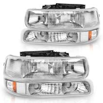 DWVO Headlight Assembly Compatible with 99-02 Chevrolet Silverado 1500 2500/01-02 Chevy Silverado 1500HD 2500HD 3500HD / 00-06 Chevy Tahoe Suburban 1500 2500(Not for GMC)