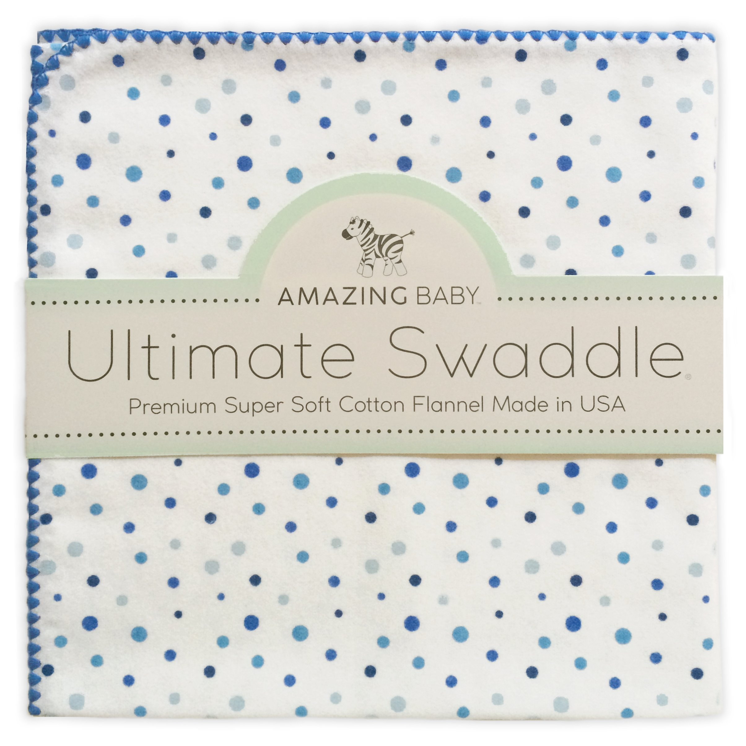 Amazing Baby Ultimate Swaddle, X-Large Receiving Blanket, Made in USA, Premium Cotton Flannel, Playful Dots, Multi Blue (Mom's Choice Award Winner)