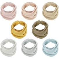 Muslin Bandana Bibs, Soft Absorbent 2 Layers Drool Bibs with Adjustable Snap Closure, Multi-Use Scarf Bibs for Heavy Droolers Baby Girls Boys Unisex Newborns Infants Toddlers (8 Solid Color)