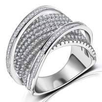 Diamond Accent Women Statement Ring - Intertwined Crossover Cubic Zirconia Wide Band Ring for Women Girls