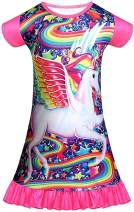 Girls Nightgown Unicorn Princess Pajamas Rainbow Cute Printed Sleepwear Nightie Dresses Unicorn Gift for Girls