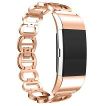 ANCOOL Compatilbe with Fitbit Charge 2 Bands Premium Stainless Steel Metal Replacement Watch Band for Charge 2 Smart Fitness Watch, Rose Gold