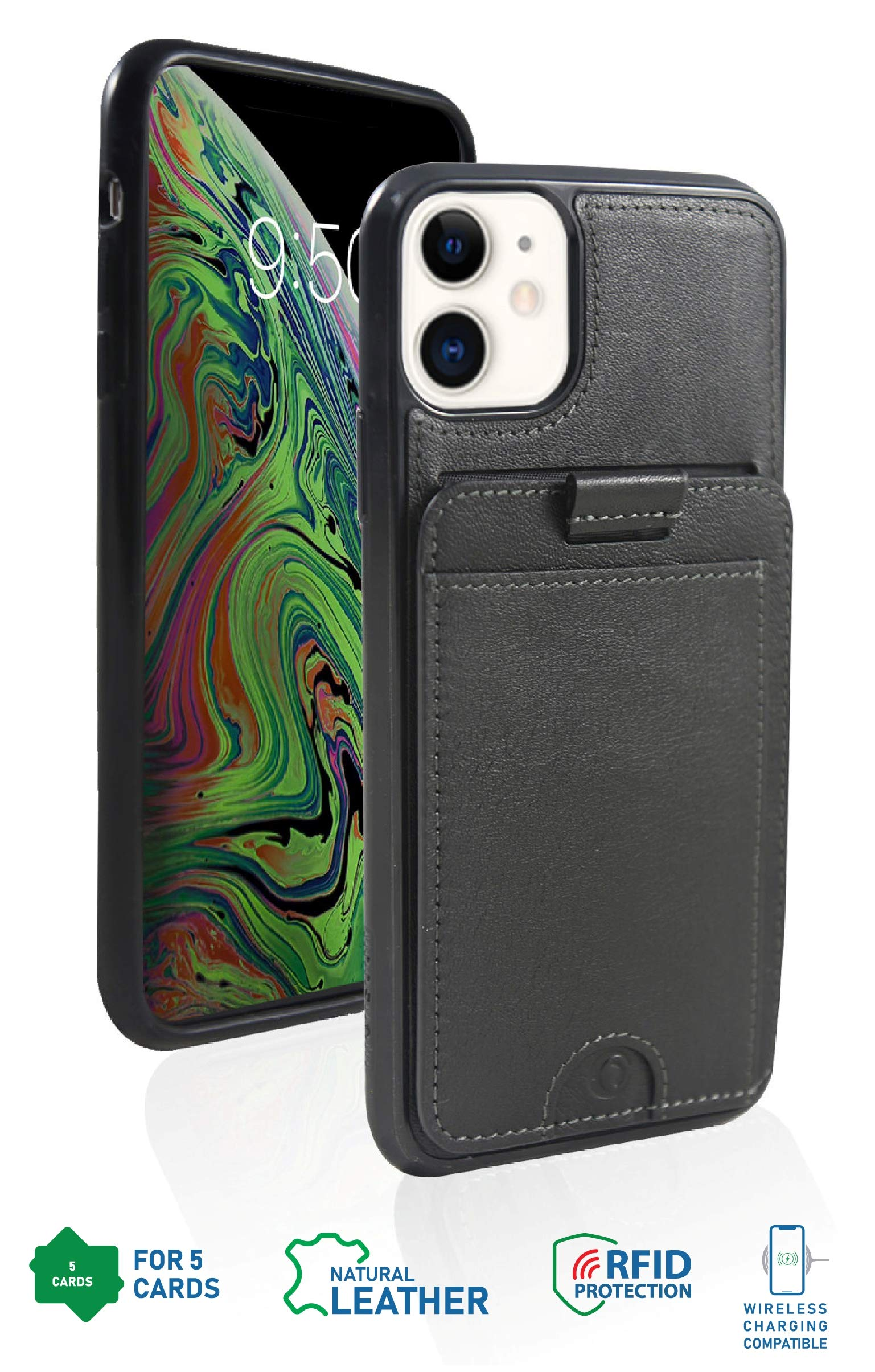 Monsoon [Cruiser Genuine Leather Wallet Case with Removable Slim Wallet for iPhone 11 - Holds 5 Cards | RFID | Stand | Wireless Charging OR Magnetic Car Mount Compatible - Black