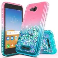 Alcatel Tetra Case, NageBee Glitter Liquid Quicksand Waterfall Flowing Floating Shiny Sparkle Bling Diamond Girls Cute Case -Pink/Aqua