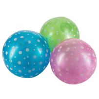 Fun Central 15 Pack - 9 Inch Inflatable Polka-Dot Beach Balls in Bulk for Pool and Beach Party - Assorted Colors
