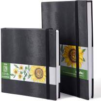 """Ohuhu Marker Pads Art Sketchbooks, 2-Pack 8.3""""×8.3""""& 8.3""""×11.7"""", 120 LB/200GSM Smooth Drawing Papers, Each Size Holds 78 Sheets/156 Pages, Hardcover Sketch Book"""