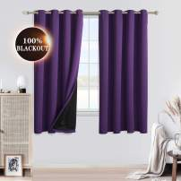 WONTEX 100% Blackout Curtains for Bedroom - Thermal Insulated Window Curtain Panels with Black Liner Backing, Noise Reducing and Sun Blocking Curtains for Living Room, Purple, 52 x 45 inch, Set of 2