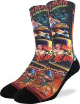 Good Luck Sock Mens B-Movie Horror Posters Crew Socks - Adult Shoe Size 8-13,Red
