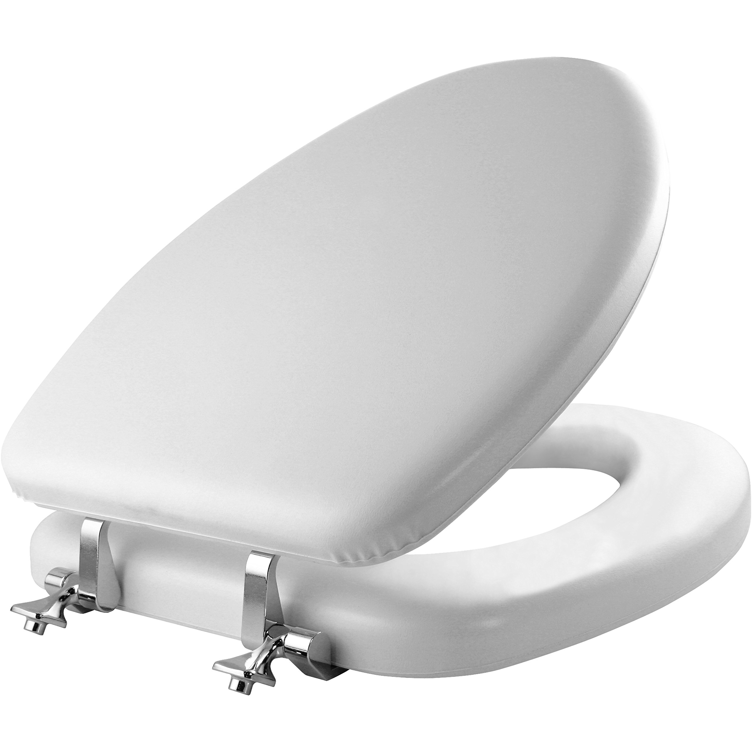 MAYFAIR 113CP 000 Soft Toilet Seat with Chrome Hinges, ELONGATED, Padded with Wood Core, White
