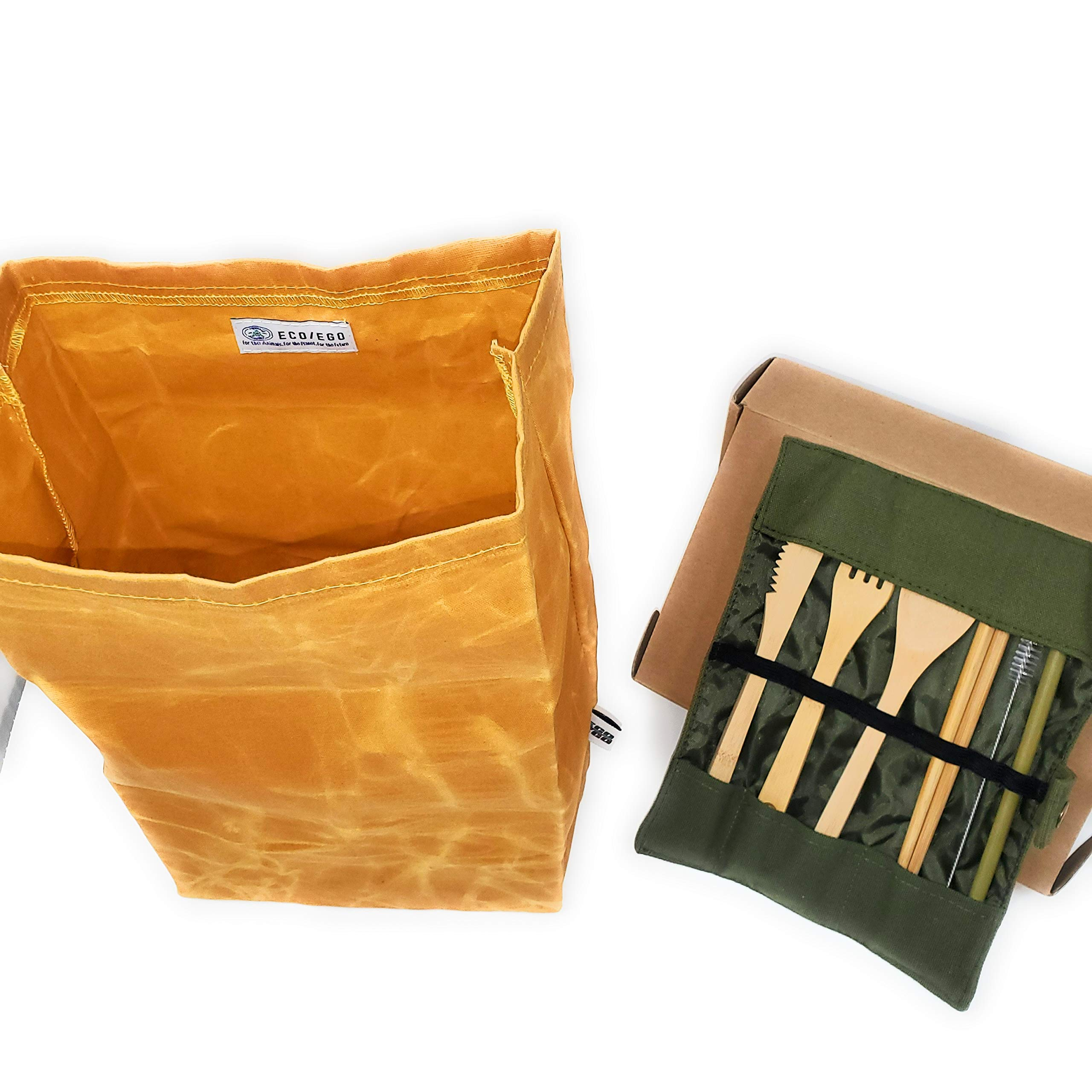 USA owned ECO/EGO Eco-Friendly Lunch Set/ 1 heavy duty and waterproof waxed canvas lunch bag/ 1 bamboo cutlery set (1 knife,1 fork,1 spoon,2 chopsticks,1 straw,1 cleaning brush,1 travel pouch).