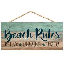P. Graham Dunn Beach Rules Relax Unwind Enjoy Weathered 5 x 10 Wood Plank Design Hanging Sign