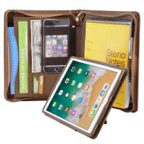 iPad Portfolio Folio Case, Organizer Portfolio Case with Removable Tablet Holder for 9.7-inch iPad /9.7 iPad Air 2, Brown