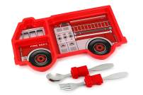 KidsFunwares Fire Engine Me Time Meal Set, Portion Control Divided Plate with Fork and Spoon for Kids