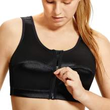 DELIMIRA Women's High Impact Back Support Zip Front Close Plus Size Wirefree Sports Bra