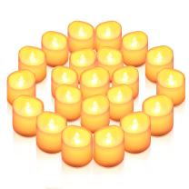 AMIR Upgraded Flameless Candles, 24 PCS LED Tea Light Candles, Realistic Flickering Votive Candle Lights for Seasonal Festival Celebration, Party Wedding Decor, Wave Open Battery Included (Warm White)