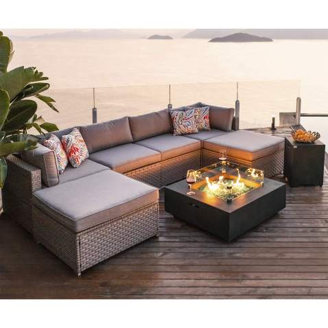 Pool for Garden Backyard Warm Gray Wicker Thick Cushion Sofa w 35-inch Square Gas Fire Table 50,000 BTU COSIEST 5-Piece Faux Brown Propane Fire Pit Outdoor Furniture Brown Chairs