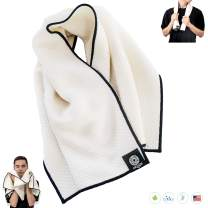 Gym Towel Ultra Soft Extra Absorbent Organic Bamboo Cotton for Men Daily Face Wash Care of Sensitive Skin & Premium Sweat Cloth 15 X 35 Eco Travel Made in USA Natural/Black