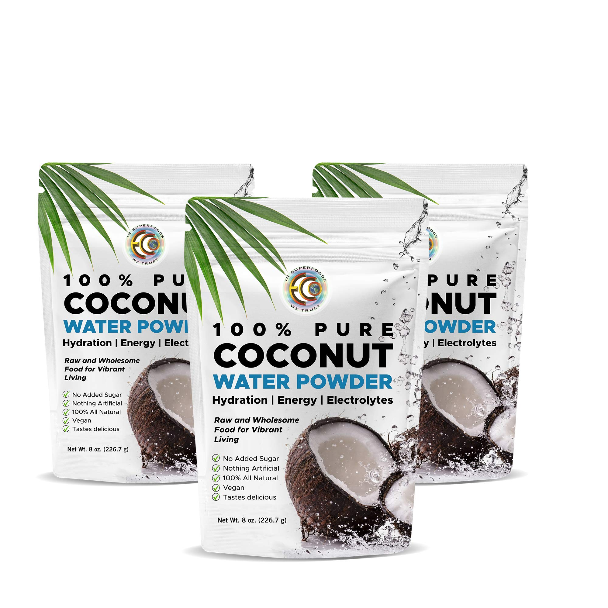 Earth Circle Organics   Pure Young Dried Coconut Water Powder   Hydration   Energy and Electrolyte Supplement   No Additives   Unsweetened   Natural Keto Water Enhancer   Vegan   Gluten Free (3 Pack)